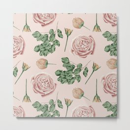 Flower Shop Roses on Blush Pink Metal Print