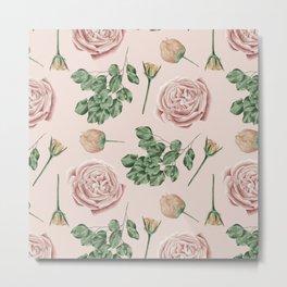 Flower Shop Roses on Blush Pink Metal Print