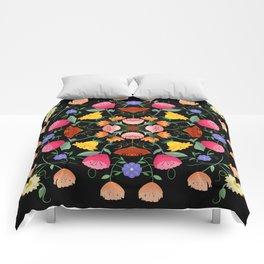 Folk Art Inspired Garden Of Fantastic Floral Delight Comforters