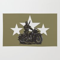 military Area & Throw Rugs featuring Military Harley by Ernie Young