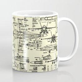 F-18 Blueprints // Parchment Coffee Mug