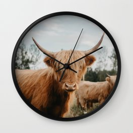 Highland Cow In The Country Wall Clock