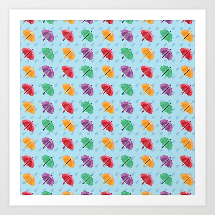 graphic relating to Umbrella Pattern Printable identified as Vibrant Rain Umbrella - Habit Artwork Print by means of bambookoi