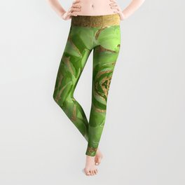 Cactus Green Succulent with Faux Gold Tips Leggings