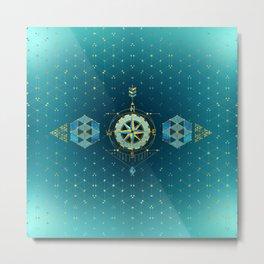 Decorative Sacred Geometry Compass Metal Print