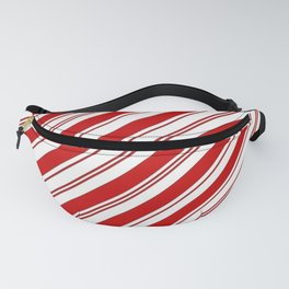 winter holiday xmas red white striped peppermint candy cane Fanny Pack
