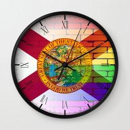 Gay Rainbow Wall Florida Flag Wall Clock