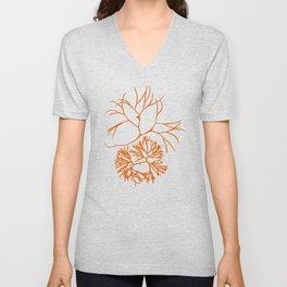 Orange Seaweed Pattern Unisex V-Neck