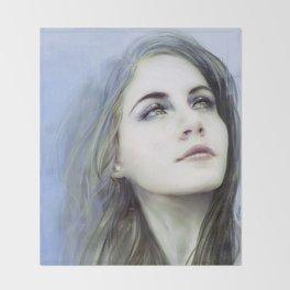 Self - Female digital art painting portrait Throw Blanket