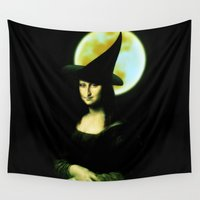 mona lisa Wall Tapestries featuring Mona Lisa Witchy Woman by Gravityx9