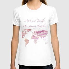Cotton Candy Sky World Map - Mark and Jennifer T-shirt