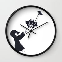 bats Wall Clocks featuring Bats by Lady Luck