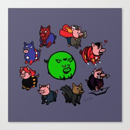 Pig-vengers Assemble! (Blue) Canvas Print