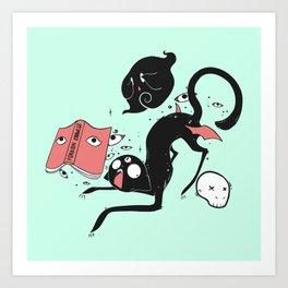 d2c5c350d Funny Goth Black Cat With Magic Book Art Print