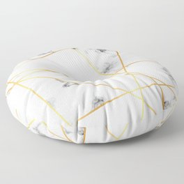 Stone Effects White and Gray Marble with Gold Accents Floor Pillow