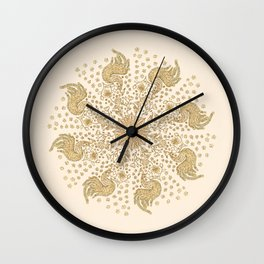 Ivory and Gold Peacock Mandala Wall Clock