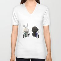 bikes V-neck T-shirts featuring bikes by coffee & fried chicken