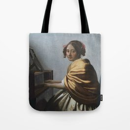 "Johannes Vermeer ""A Young Woman Seated at the Virginal"" Tote Bag"