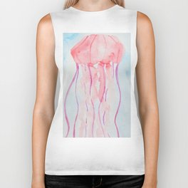 Jellyfish Pastel Watercolor Painting Biker Tank