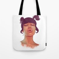 cigarette Tote Bags featuring Girl cigarette by Danit Rotart
