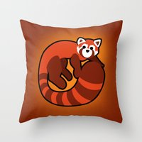ferret Throw Pillows featuring Fire Ferret by  terrorbunnystudios