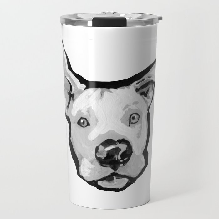 RESCUE ME Pit Bull Pitbull Dog Pop Art black and White Painting by LEA  Travel Mug by wilddogs