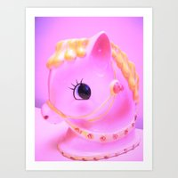 pony Art Prints featuring  pony by Vintage  Cuteness