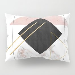 Minimal Geometry Abstract Art With Marble Rose And Gold Pillow Sham