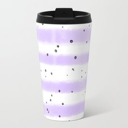 Modern pastel lavender black splatters stripes motif Travel Mug