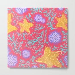 Seaweed & Starfish red Metal Print