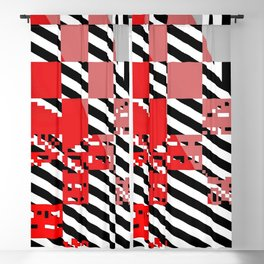 red coral pink grey black white abstract geometric striped pattern Blackout Curtain