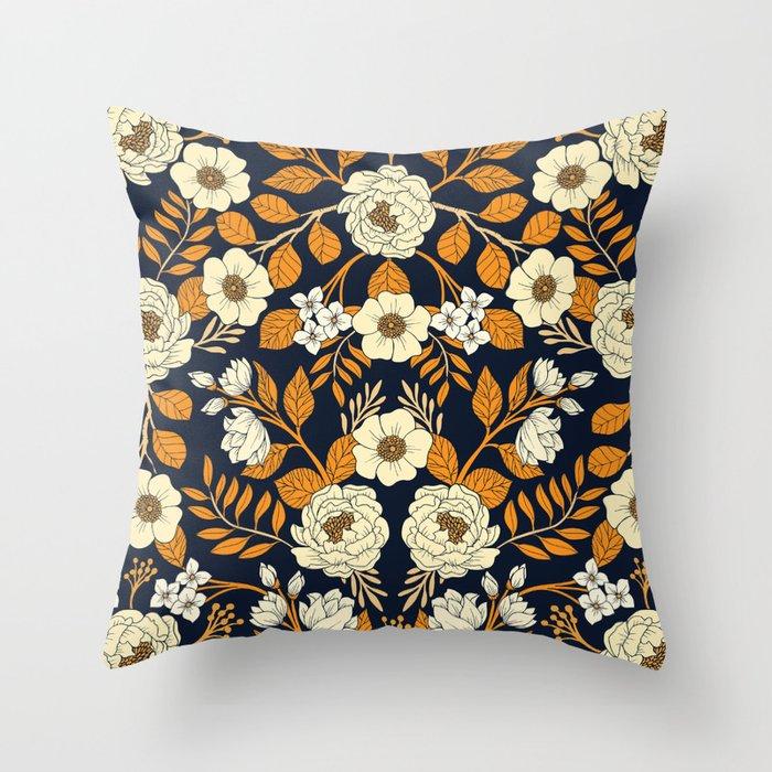 Navy And Orange Buffalo Check Throw Pillow