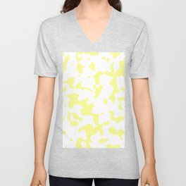 Large Spots - White and Pastel Yellow Unisex V-Neck