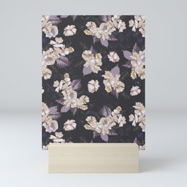 Dark Woodcut Wild Roses Floral Pattern Plum Mini Art Print