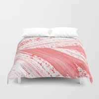 coral Duvet Covers featuring CORAL by LEEMO