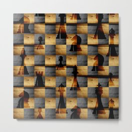 Wooden Chessboard and Chess Pieces  pattern Metal Print