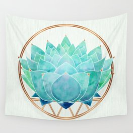 Modern Blue Succulent with Metallic Accents Wall Tapestry