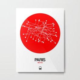 Paris Red Subway Map Metal Print