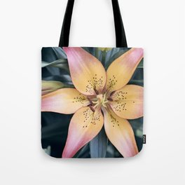Lily Flower Photography, Pink Peach Lilies Flowers, Nature Botanical Photography Tote Bag