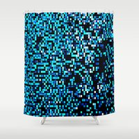 pixel art Shower Curtains featuring Turquoise Blue Aqua Black Pixels by 2sweet4words Designs
