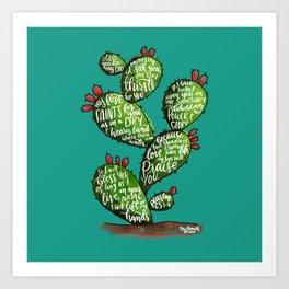 Psalm 63 watercoulor cactus bible verse Art Print