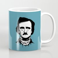 edgar allan poe Mugs featuring Edgar Allan Poe by Laura Meg