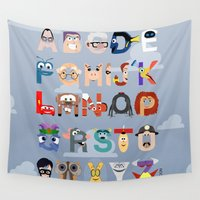 pixar Wall Tapestries featuring P is for Pixar (Pixar Alphabet) by Mike Boon