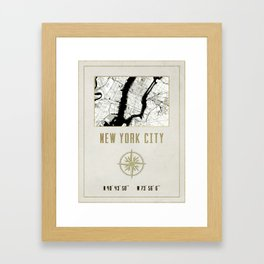 New York City Vintage Location Design Framed Art Print