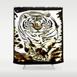 Big Cat Models: White Tiger Emboss 01-03 Shower Curtain