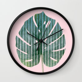 Painted Monstera Leaf Wall Clock
