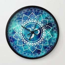 Galaxy Om Mandala Aqua Midnight Blue Wall Clock