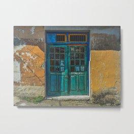 Turquoise Wooden Door - Aged & Worn Metal Print
