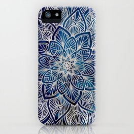 Pearl Mandala on Navy Blue iPhone Case
