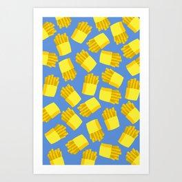 French Fries Pattern Wall Decor Home Art Print Cartoon Poster Yellow Blue Pattern Decoration Art Print